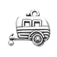 Wholesale Car Charms For Necklaces - Wholesale-Vogue 10pcs Zinc Alloy Antique Silver Plated Camper Car Trailer Charm For Bracelets Or Necklaces
