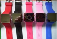 Wholesale Square Silicone Watch Ladies - New 100pcs Luxury LED Mirror Digital Watches Men Sport silicone Jelly Watch Fashion ladies watches