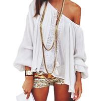 Wholesale Tee Shirt Crochet - Wholesale- Fashion Sexy Women Boho Lace Crochet Off Shoulder Tops Long Sleeve Casual T-shirt Chiffon Tops tee shirt femme Plus Size Blusa