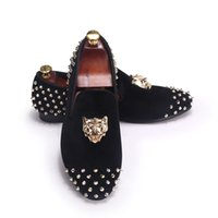 Wholesale Drop Shipping Wedding Dresses - Harpelunde Flat Shoes Rivets Black Men Velvet Loafers Animal Buckle Dress Shoes With Spikes Free Drop Shipping US Size 7-14