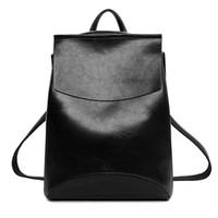 Wholesale leather back books - Wholesale- 2017 Winter Design PU Women Leather Backpack College Student High School Bags for Ladies Girl Teenager Back pack For Laptop book