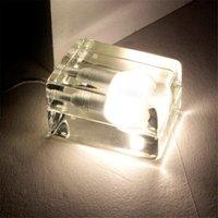 ingrosso blocchi di luce guidati-Cristallo creativa blocco lampada da tavolo di ghiaccio di vetro moderno lampada da tavolo a LED G9 * 40W lampadine Notte Harri Koskinen casa light design a blocchi per le vacanze