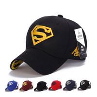 Wholesale wholesale designers baseball caps - Designer Superman Embroidery Baseball Caps Adjustable Strapback Cotton Curved Golf Hats For Adults Men Woman Sports Sun Hats Amp Caps Visor