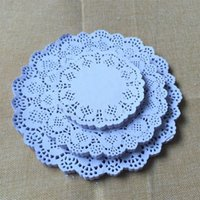 Wholesale 100pcs cm cm Eco Friendly Grease Proof White Round Lace Paper Doilies Wedding Table Decoration cake holder