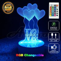 Wholesale Visual Lighting - 3D Visual Bulb Optical Illusion Colorful LED 2016 Table Lamp Remote Romantic Holiday Night Light Lovers Christmas Wedding Gifts