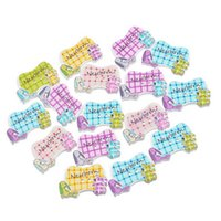 Wholesale Dog Buttons Sewing - Kimter Mixed Newborn Dog Bones Wooden Sewing Buttons With 2 Holes 22x35mm For DIY Craft Clothing Sewing Embroidered Pack Of 50pcs I671L
