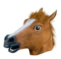 Wholesale Horse Head Dress - New Style 1Pc Horse Head Mask Creepy Halloween Costume Fur Mane Latex Realistic for Masquerade Party Fancy Dress Costume