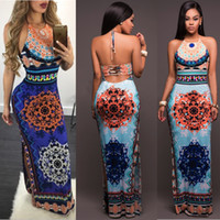 Wholesale Dress Ankle Length Halter - chic style floral printed sleeveless backless ankle length summer sun casual pencil long dresses for womens