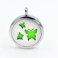 Wholesale Butterfly Locket Pendant - Butterfly Magnetic Perfume Aromatherapy essential oil Diffuser Locket Floating locket pendant (Felt Pads randomly freely) XX138