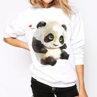 Wholesale Pullover Hoodies Panda - Panda Hoodie Fashion 2017 Casual T-shirt Hoodies Animal Print Long Sleeve Pullover Sport O-neck Hoody Women Clothes S-XL LX3570