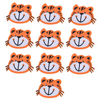 Wholesale Tigers Stickers - 10PCS tiger head embroidery patches for clothing iron patch for clothes applique sewing accessories stickers on clothes iron on patches DIY