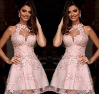 Wholesale Semi Sheer Formal Dress - Semi Formal Cocktail Dresses 2017 Illusion High Neck Blush Pink Lace Homecoming Dresses Sheer Neck Short Prom Party Gowns Sleeveless