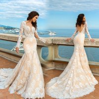 Wholesale Modern Fit Shirts - Champagne Mermaid Lace Wedding Dresses Long Sleeves Beach Boho Elegant Backless Fitted Sweetheart Bridal Gowns with Sweep Train