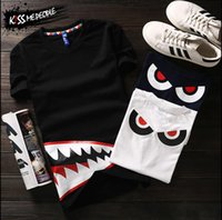 Wholesale Summer Style Shirts For Women - YEEZUS European Hiphop Style Men Women Shark Mouth Print Harajuku T-shirt New 2016 Summer Fashion Rock Roll Cartoon T Shirt For Couples