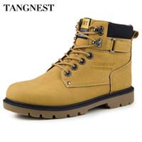 Wholesale High Top Platform Shoe - Wholesale-Tangnest Rubber Boots Men 2016 Autumn Casual Working Boots Fashion Male Ankle Boots Solid High Top Platform Shoes Man XMX496