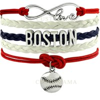 (10 pcs / lot) Infinity Love Boston Baseball Charm Multilayer Bracelet pour les fans de baseball Rouge Bleu marine Cire de cire blanche Cuir