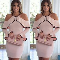 Wholesale Pencil Flare - New Fashion Women Dresses Bandage Bodycon Long Sleeve Sexy Party Cocktail Pencil Mini Dress