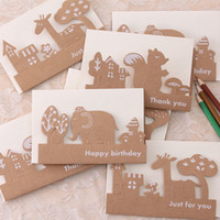 Wholesale Pack Wedding Invitation Cards - Wholesale-10pcs pack Animal Hollow Kraft Paper Memo Wedding Party Gift Card Child Birthday Invitation Card Birthday Party Decorations Kids