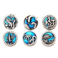 botones azules mezclados al por mayor-Mezclar colores Rhinestone esmalte azul vida marina Noosa Chunks Metal jengibre 18mm botones a presión para la pulsera de resultados de la joyería