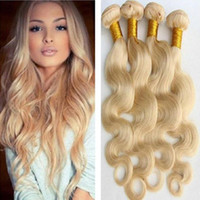 Wholesale Brazilian Blond Weave - top 8a virgin brazilian #613 platinum blonde body wavy hair weave extensions virgin blond body wave 3 pieces