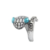 Wholesale Crystal Snake Rings - Wholesale Jewelry Vintage Snake Ring Blue Crystal Eyes Animal Rings For Women Thai Silver Snake Open Rings