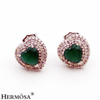 Barato Brinco De Gemstone Esmeralda-Mulheres Stud Earrings Beautiful Sterling Silver Gemstone Natural Emerald Sapphire Pink Kunzite White Topaz Promise Love Heart Gifts