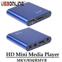 Wholesale ypbpr usb - Wholesale- Multimedia HD 1080P Mini Media Player HDMI CVBS YPbPr Ouput MKV RM RMVB H.264 Player Support USB Disk SD SDHC Card