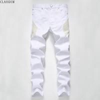 Wholesale jeans large hip hop - Men Fashion Designer High Quality Brand Jeans Men's Large Pure White Small Fold Hip-Hop Men's Jeans Size 28-38