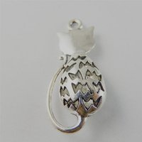 Wholesale European Style Cat Bead Wholesale - GraceAngie 10pcs lot Ancient Silver Summer style Alloy Shy cat Pendant Charms Fine making For Jewelry Finding36 * 15 * 7mm 50736