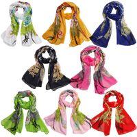 estampado de chifón pavo real al por mayor-Venta al por mayor- Moda para mujer Impresión del pavo real Suave bufanda de gasa Abrigo Mantón Estola bufandas