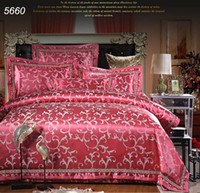 Wholesale Romantic Floral Quilts - Rust red tribute silk bedding sets queen king size quilt blanket comforter cover bed sheet pillowcases romantic bed set 5660