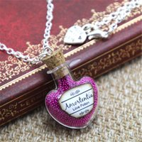 Wholesale Glass Potion Bottles - 12pcs lot HP INSPIRED Jewelry Amortentia Love Potion Necklace - Bottle Glass Vial Magical Filter