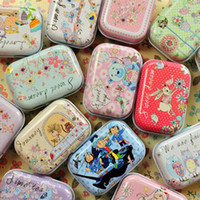 Wholesale Cheap Owl Accessories - Cheap Kawaii Cartoon Owl Tinplate Box 12pcs lot Square Metal Collectable Case For Tea Jewelry Pill Small Things Beauty Treasure Chest