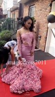 Wholesale Crystal Bodice Flower Girl Dresses - Black Girl 2K17 Pink Prom Evening Dresses Mermaid Strapless Illusion Bodice Long Lace Flowers Formal Celebrity Gowns for Party Dress