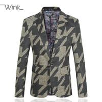 Wholesale Menswear Jacket - Wholesale- Men's Geometry Print Suit Blazers Slim Fit Thick Woolen Menswear Male Fashion Costume Party Men Jacket Coat Big Size 5XL S139
