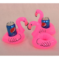 Wholesale Cute Pink Swim - Wholesale-1Pcs Mini Cute Pink Flamingo Floating Inflatable Drink Can Holder Swimming Pool Beach Party Kids Toy