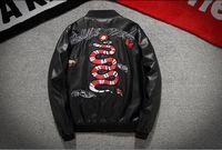 Wholesale Leather Pilot Jacket Black - kanye west high quality embroidered snake PU leather jacket jacket MA-1 men pilot hip hop baseball Y-3 yeezus motorcycle jacket