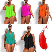 biquini de tamanho grande venda por atacado-Plus Size One piece Tassels Swimwear Sexy V neck Women Swimsuit Padded Boho Fringe Big size Bathing Suit 5 Colors Bikini free shipping