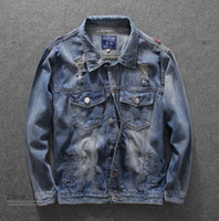 Wholesale Male Personality - kanye west New embroidery Xianhe hole hip hop denim jacket Japanese Harajuku jacket male personality of adolescents in Yokosuka streetwear