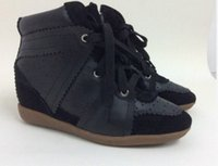 Wholesale ladies lace up cowboy sneakers genuine leather wedge ankle boots designer suede sneakers casual shoes size35