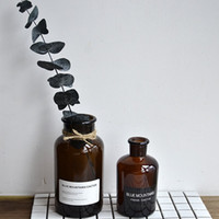 Wholesale Black White Vases - New simple style brown clear medicine jar with stickers bottle in 4 sizes with black or white pasters