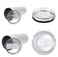 Wholesale Wholesale Plastic Travel Mugs - 20oz 30oz yeti straws cup transparent lid sheet push switch yeti straw cover spill-proof travel mug plastic cover