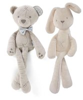 Wholesale Plush Soft Toys - Kids Easter Rabbit Plush Toys White and Beige Soft Bunny Sleeping stuffed Doll Toddler Toys Kids Gift