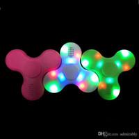 Wholesale Promotion Cube - Retail Promotion Hand Spinner Bluetooth Speaker LED Light Flash Toy Cube Tri Fidget Finger EDC Anti Stress Adult Kids Stress Release Retail