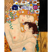 Wholesale Mother Child Oil Painting - Gustav Klimt Portrait Mother and Child oil painting reproduction canvas hand-painted home art decor