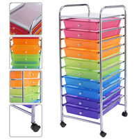 Wholesale Color Office Paper - 10 Drawer Rolling Storage Cart For Scrapbook Paper In Office School Organizer 3 Color