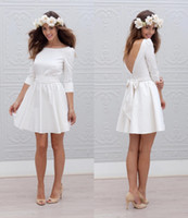 Wholesale Open Back Wedding Dress Designers - Designer Short Mini Reception Wedding Dresses 2017 A-line 3 4 Sleeves Sash Simple Sexy Open Back Casual Informal Bridal Gown New