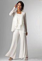 Wholesale Ladies Silver Trouser Pants - Elegant White Chiffon Lady Mother Pants Suits Mother of The Bride Groom mother bride pant suits With Jacket Women Party Dresses trouser suit