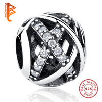 BELAWANG Atacado 925 Sterling Silver Big Hole Beads SilverGold Hollow Weave Charm Beads fit Pandora Charm Braceletas DIY Jewelry Making