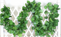Wholesale Cane Wall - 2.4m artificial green grape leaves other Boston ivy vine decorated fake flower cane 90 leaves wholesale free shipping HH08